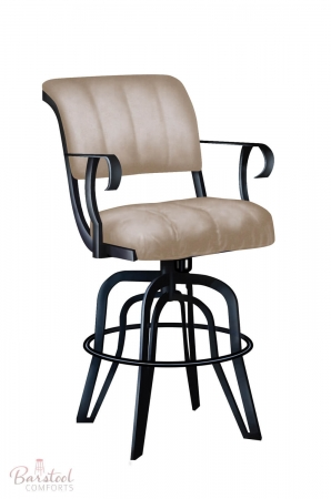 Lisa Furniture's Coco #2535 Tilt Swivel Bar Stool with Arms in Black metal and Brown seat and back cushion