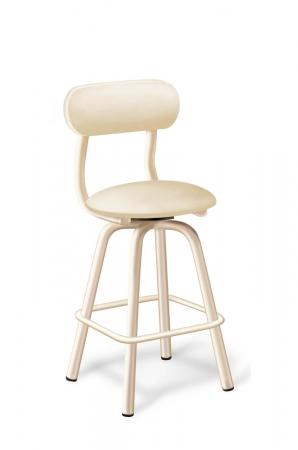 Lisa Furniture's #576 Swivel Bar Stool with Back in Vanilla Metal Finish - Danish Style