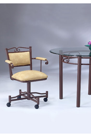 Scroll Back Swivel Dining Chair W Arms Casters