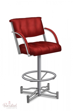 Lisa Furniture's #874 Laze Modern Angular Swivel Barstool with Arms shown in Metallic metal finish and Red seat and back cushion