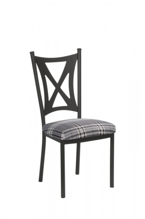 Trica's Aramis Modern Dining Chair in Champagne Silver Metal and Plaid Gray Fabric