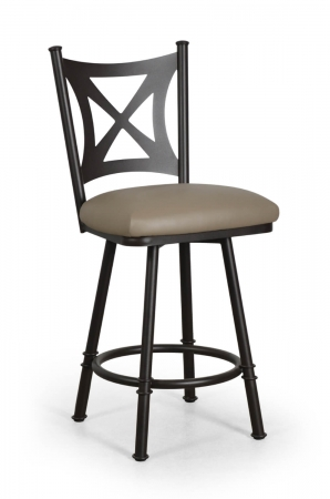 Trica's Aramis Swivel Counter Stool with Cross Back in Cocoa metal
