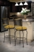Trica's Art Collection 1 Swivel Bar Stools (with wine back, yellow cushion) in Traditional, Dark Brown Kitchen and Stainless Appliances