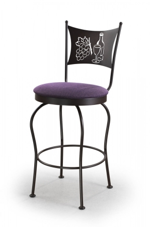 Trica's Art Collection 1 Armless Swivel Counter Stool in Black Metal Finish, Purple Seat Cushion and Wine Glass, Wine Bottle and Grapes Cut-Out on Backrest