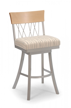 Trica's Bambusa Swivel Bar Stool with Natural Wood Trim on Back, Cross Back Design, Wide Seat Cushion, and Silver Metal Frame