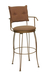 Trica Bill Swivel Stool with Button-Tufted Back and Armrests