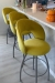 Trica's Modern Biscotti Swivel Upholstered Bar Stools with Back in Yellow Fabric and Silver Metal Base - In Modern Kitchen
