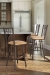 Trica's Charles 1 Swivel Bar Stools with Back, Square Seat, Metal Frame - in Transitional Brown Stainless Kitchen
