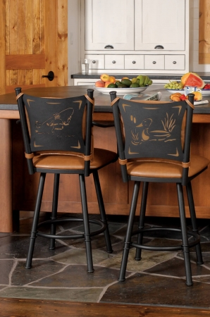 Trica's Creation Collection 2 Swivel Barstools with Arms and Fisherman and Duck Laser Back Designs