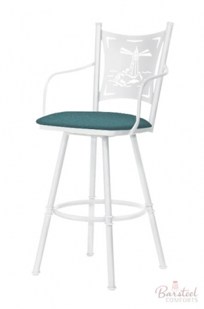 Trica's Creation Collection Swivel Counter Stool with Arms in White