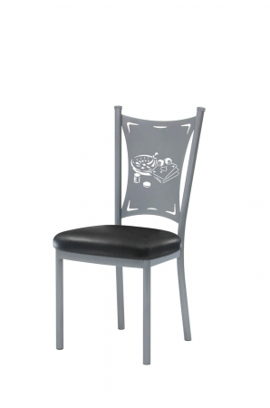 Trica's Creation Collection Metal Dining Chair with Black Seat Cushion and Games Cut-Out including Dice, Casino Cards, Chips and Roulette