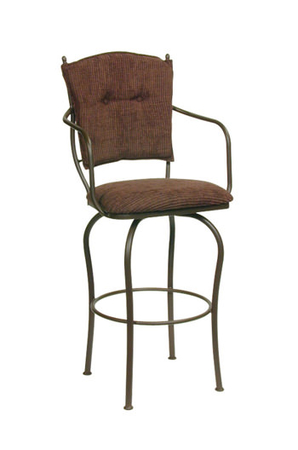 Trica Eleonor Swivel Stool with Arms and Button-Tufted Back