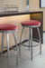 Trica Henry Backless Swivel Stool with Red Vinyl on Seat
