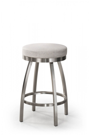 Trica's Henry Backless Swivel Bar Stool in Brushed Steel and Comfort Seat - Modern Design