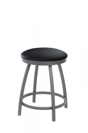 Trica's Henry Backless Swivel Vanity Stool in Anthracite Gray Metal and Black Vinyl