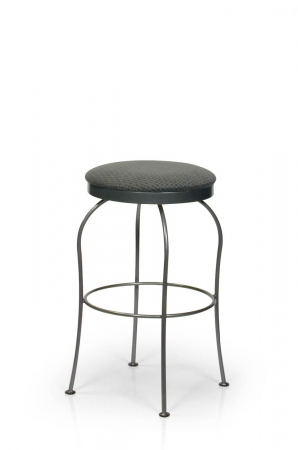 Trica's Kim Backless Swivel Bar Stool with Round Seat Cushion and Black Metal Frame