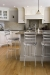 Trica's Latte Swivel Metal Bar Stools with Paisley Seat Cushion in Transitional Country White and Brown Kitchen