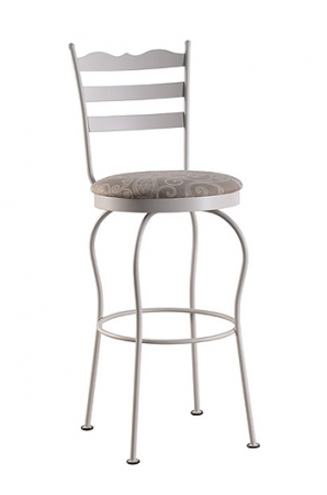 Trica's Latte Metal Swivel Bar Stool with Ladder Back and Round Seat Cushion