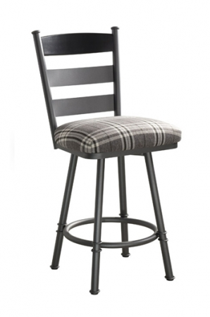 Trica's Louis Swivel Counter Stool with Ladder Back Design, Seat Cushion and Metal Frame