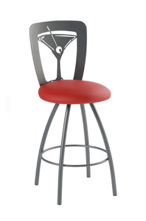 Trica's Martini Swivel Barstool with Champagne Glass on Back