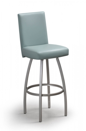 Trica's Nicholas Swivel Bar Stool in Silver Metal Finish and Seaspray Green Upholstered Seat and Back