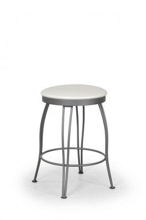 Trica's Pat Backless Swivel Bar Stool in Silver Metal and White Seat Cushion