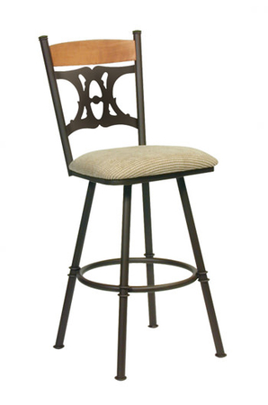 Trica Penelope Swivel Stool with Wood Trim on Back and Unique Back
