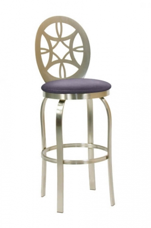 Trica's Provence Swivel Metal Stool with Back and Purple Seat Cushion