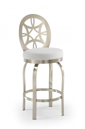 Trica's Provence Counter Swivel Stool with Oval and Swirl Backrest, Brushed Steel Metal and Round White Seat Cushion