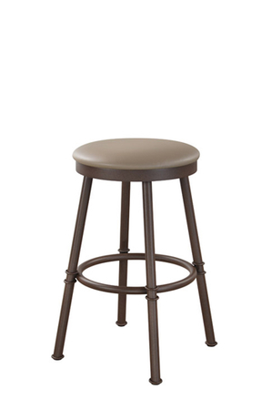 Trica's Sal Backless Bar Stool with Round Seat Cushion and Brown Metal Base