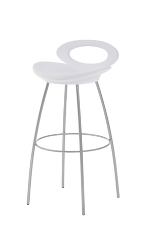 Trica Solo Stool with White Seat and Metal Legs