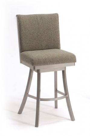 Trica's Swirl Modern and Comfortable Upholstered Swivel Bar Stool with Swirl Back Design