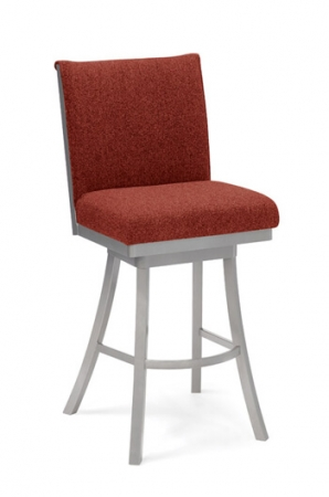 Trica Swirl Swivel Stool with Red Upholstered Back and Swirl Back on Backside