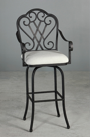 Dallas Swivel Stool W Arms In Rustic Ivory Bronze