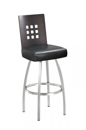 Trica's Tristan Modern Swivel Bar Stool with Square Cut-Outs on Back, Seat Cushion, and Brushed Steel Metal Frame