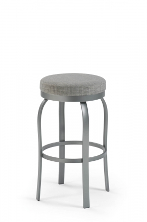 Trica's Truffle Modern Backless Swivel Bar Stool with Round Seat Cushion and Silver Metal Frame