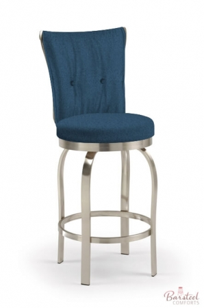 Trica's Tuscany Swivel Counter Stool with Blue Fabric and Brushed Steel metal finish