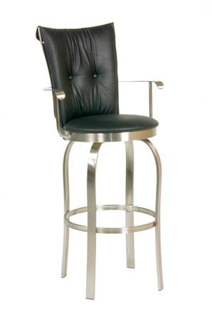 Trica Tuscany Swivel Stool with Arms and Button-Tufted Back