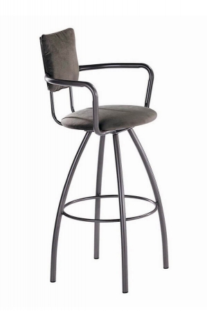 Trica's Zip Swivel Metal Bar Stool with Arms and Upholstered Seat and Back
