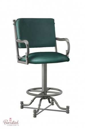 Callee's Burnet Swivel Bar Stool with Arms in Green Seafoam Color