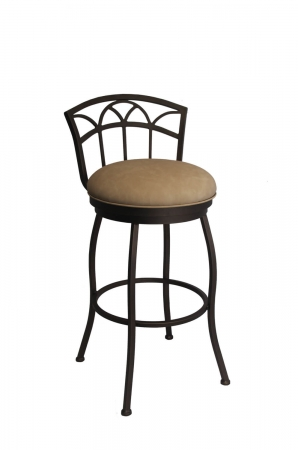 Callee's Fairview Swivel Bar Stool with Low Back, Round Seat Cushion in Light Tan Vinyl, with Black Frame