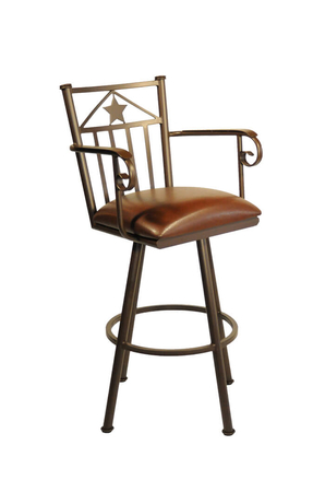 Callee Lonestar Swivel Stool with Arms and Star on Back