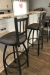 Holland's Contessa #810 Swivel 36-Inch Extra Tall Bar Stools in Transitional Kitchen in Pewter Metal Finish with Gray Seat Cushion