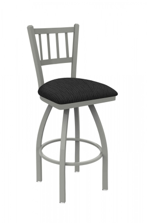 Holland's #810 Contessa Swivel Barstool with Back in Nickel Metal Finish and Gray Seat Cushion