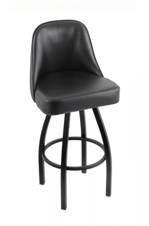 Holland's Grizzly #840 Swivel Bar Stool with Back in Black vinyl and Black Metal Finish