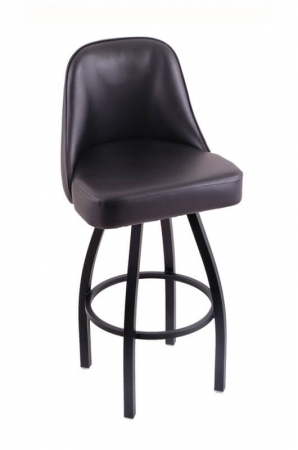 Holland's Grizzly Black Upholstered Seat and Back Swivel Bar Stool in Black Wrinkle Base Metal Finish