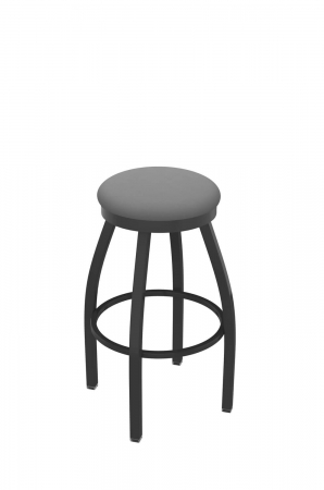 Holland's Misha #802 Backless Swivel Stool in Pewter Metal Finish and Gray Seat Cushion