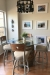 Holland's Voltaire Swivel Counter Metal Stool with Medium Oak Wood Back, Nickel Metal Frame, and Tan Seat Cushion in Traditional Dining Room