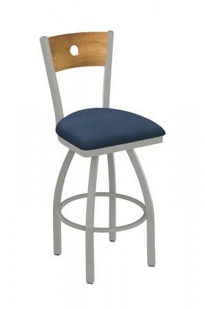 Metal Finish: Anodized Nickel • Back Wood Finish: Medium Maple • Seat Cushion: Rein Bay, vinyl grade 1