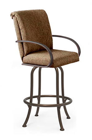Tobias Designs - M-60 Swivel Bar Stool with Curved Armrests and Fully Upholstered Seat and Back